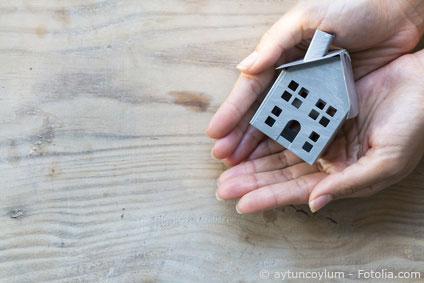 Zwei Hände halten ein Minihaus in den Händen