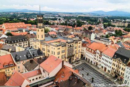 Lufaufnahme von der Altstadt in Zittau und seinen Häusern