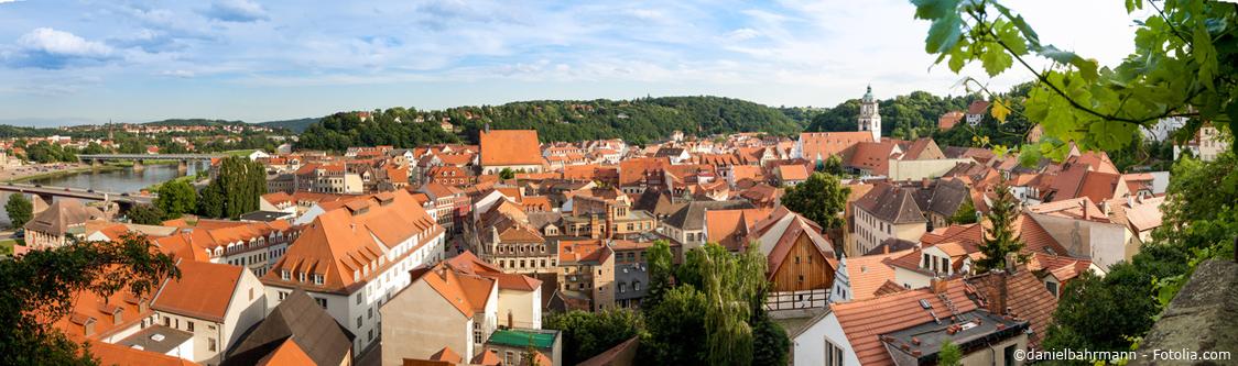 Stadtpanorama über Meißens schönste Immobilien direkt an der Elbe