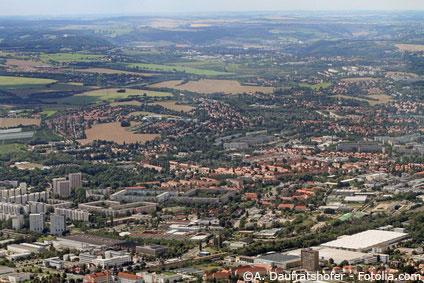 Blick auf den Dresdner Süden mit seinen Mietwohnungen in Dresden Lockwitz.